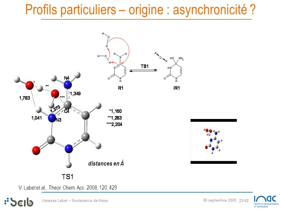 Vanessa Labet – Soutenance de thèse 25/42 08 septembre 2009 Profils particuliers – origine : asynchronicité ? V. Labet et al., Theor. Chem. Acc. 2008,
