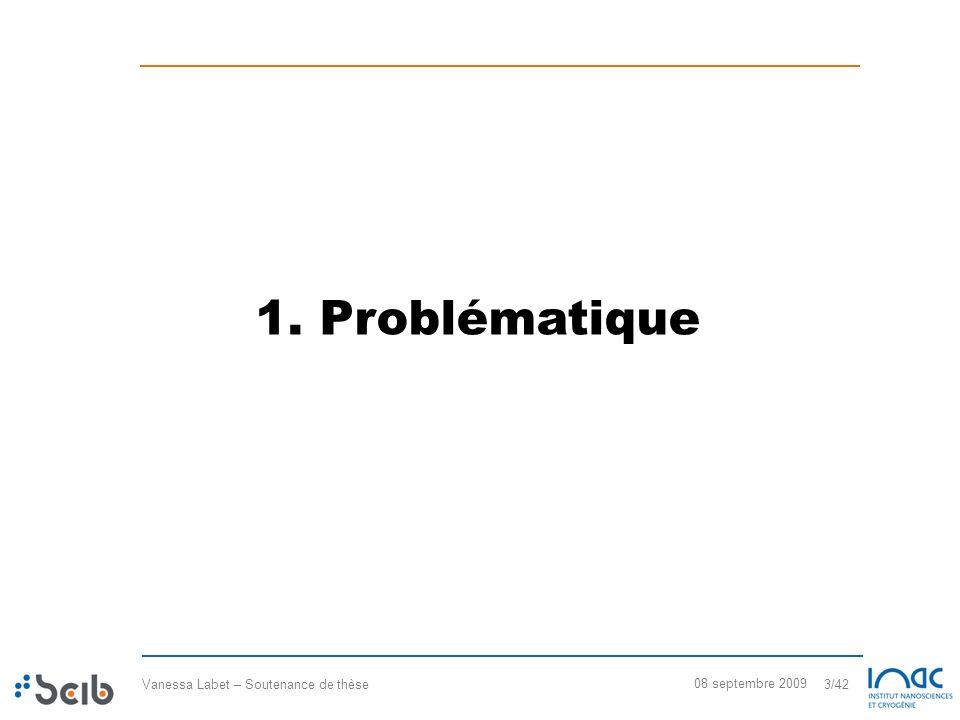 Vanessa Labet – Soutenance de thèse 3/42 08 septembre 2009 1. Problématique