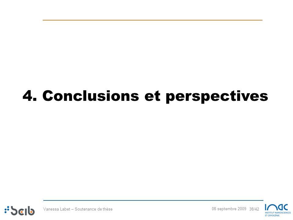 Vanessa Labet – Soutenance de thèse 38/42 08 septembre 2009 4. Conclusions et perspectives