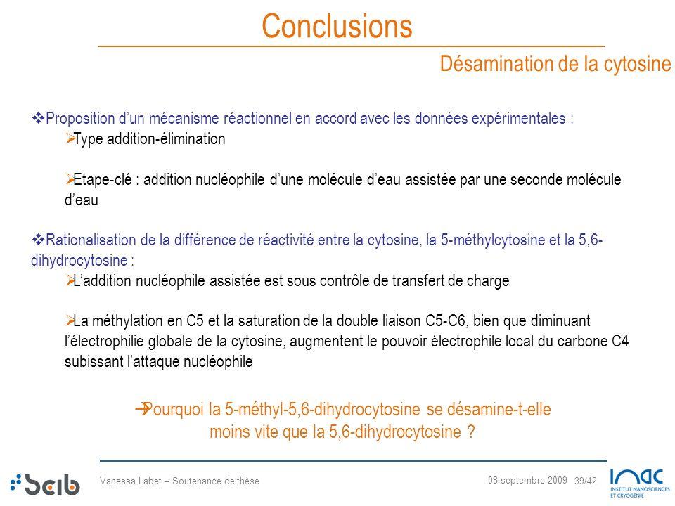 Vanessa Labet – Soutenance de thèse 39/42 08 septembre 2009 Conclusions Désamination de la cytosine Proposition dun mécanisme réactionnel en accord av