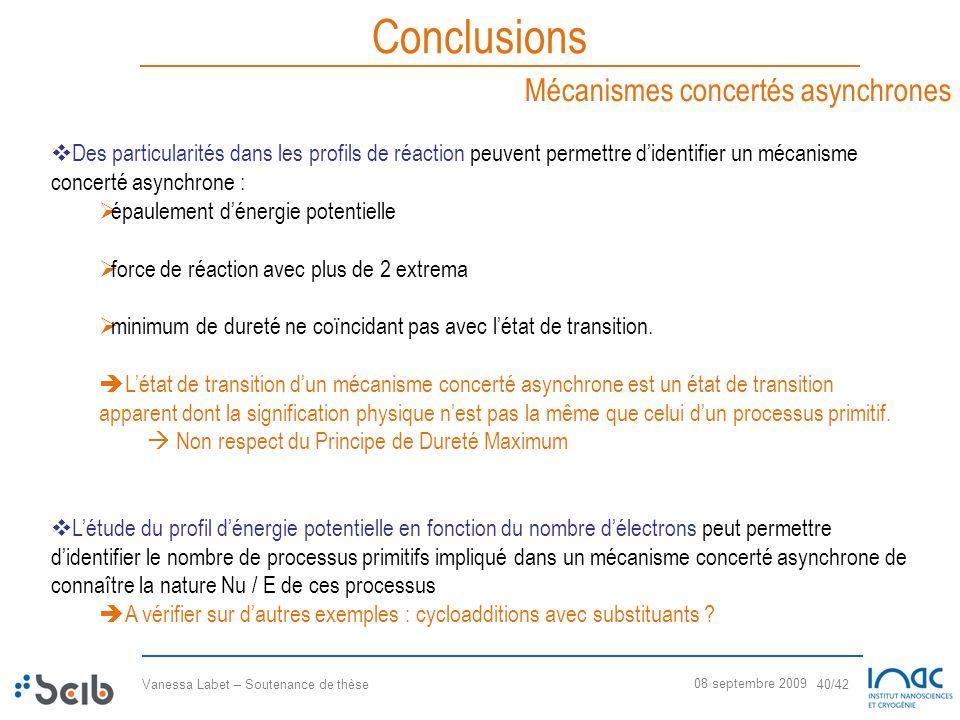 Vanessa Labet – Soutenance de thèse 40/42 08 septembre 2009 Conclusions Mécanismes concertés asynchrones Des particularités dans les profils de réacti