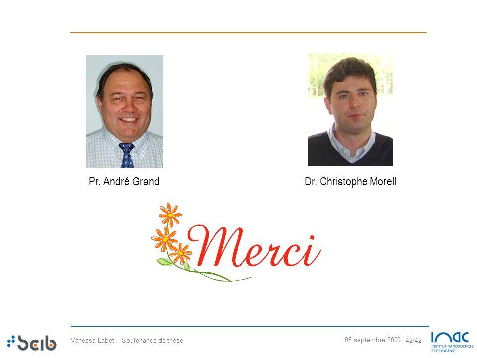 Vanessa Labet – Soutenance de thèse 42/42 08 septembre 2009 Pr. André GrandDr. Christophe Morell