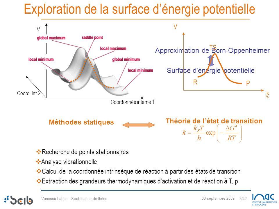 Vanessa Labet – Soutenance de thèse 9/42 08 septembre 2009 Exploration de la surface dénergie potentielle Recherche de points stationnaires Coordonnée