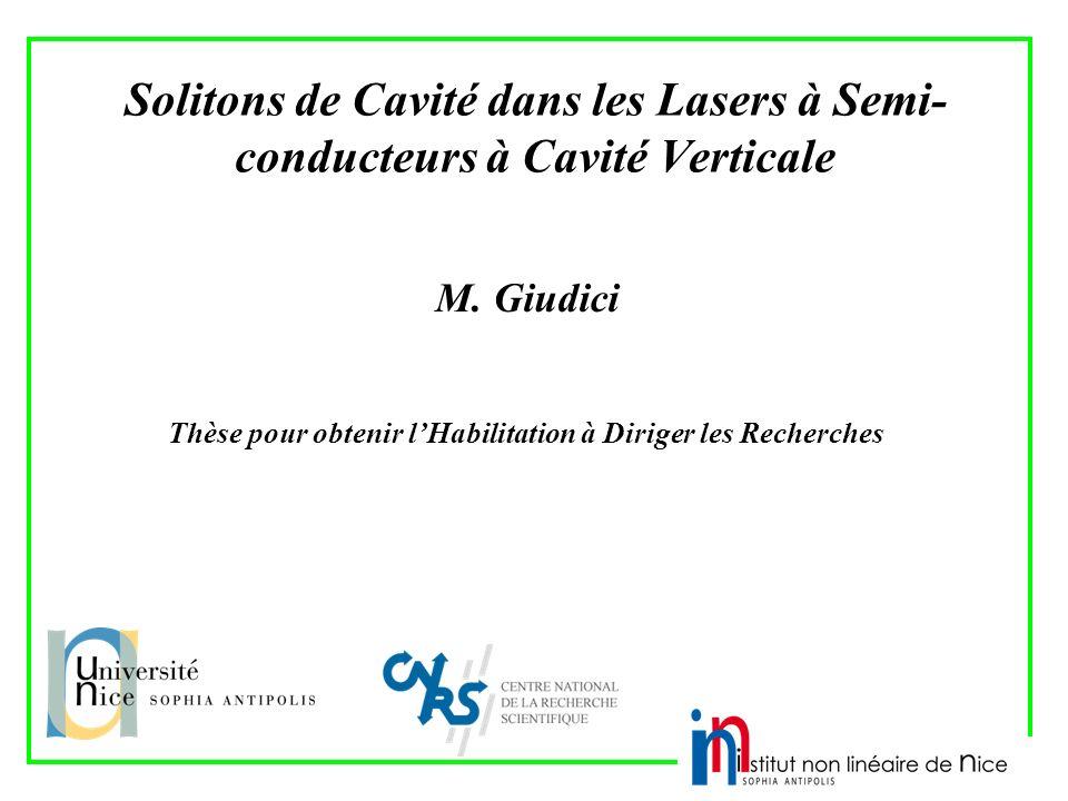 Solitons de Cavité dans les Lasers à Semi- conducteurs à Cavité Verticale M. Giudici Thèse pour obtenir lHabilitation à Diriger les Recherches