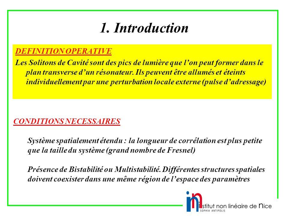1. Introduction DEFINITION OPERATIVE Les Solitons de Cavité sont des pics de lumière que lon peut former dans le plan transverse dun résonateur. Ils p