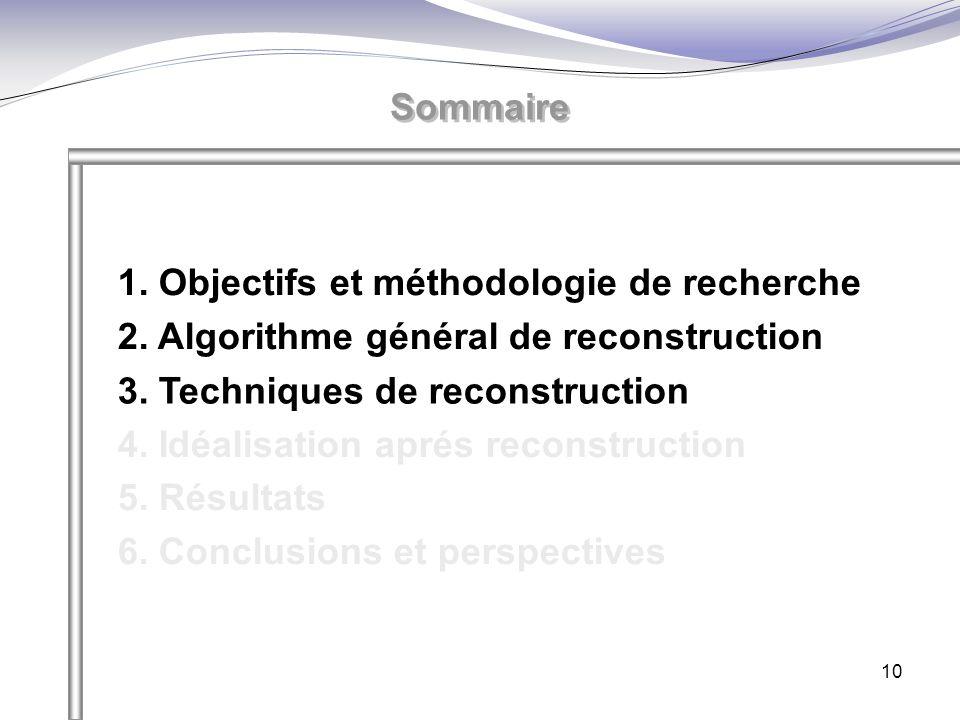 10 Sommaire 1. Objectifs et méthodologie de recherche 2. Algorithme général de reconstruction 3. Techniques de reconstruction 4. Idéalisation aprés re