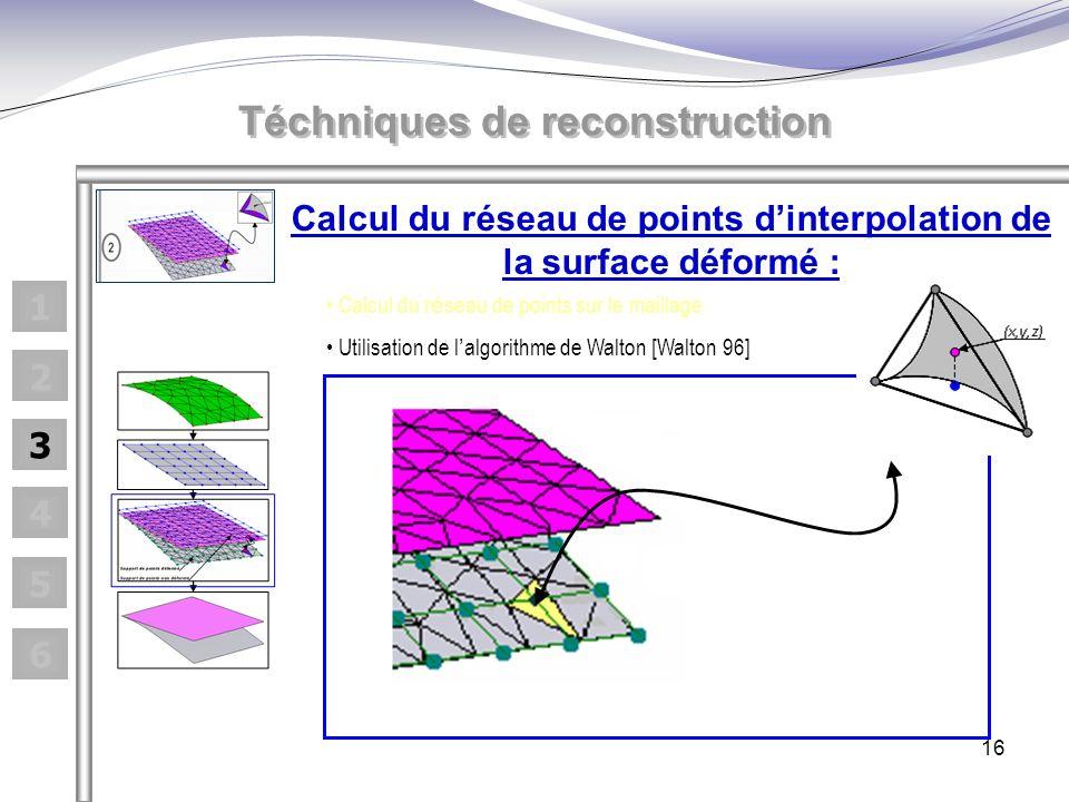 16 Calcul du réseau de points dinterpolation de la surface déformé : Calcul du r é seau de points sur le maillage Utilisation de l algorithme de Walto