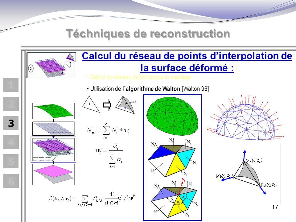 17 Calcul du réseau de points dinterpolation de la surface déformé : Calcul du r é seau de points sur le maillage Utilisation de l algorithme de Walton [Walton 96] Téchniques de reconstruction 1 2 3 4 5 6