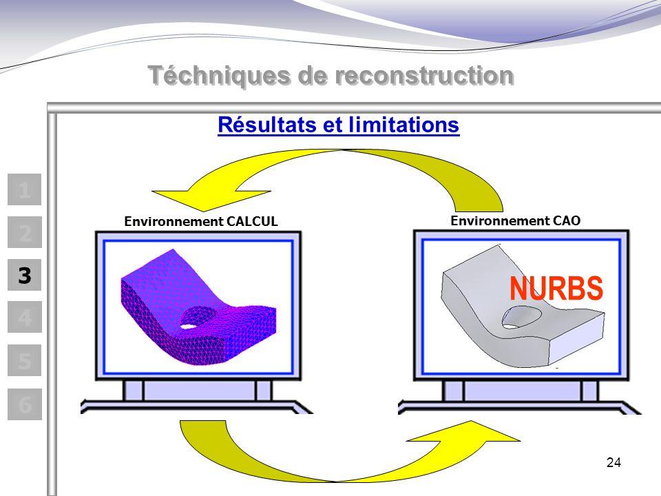24 Résultats et limitations Téchniques de reconstruction 1 2 3 4 5 6 Environnement CALCUL Environnement CAO NURBS