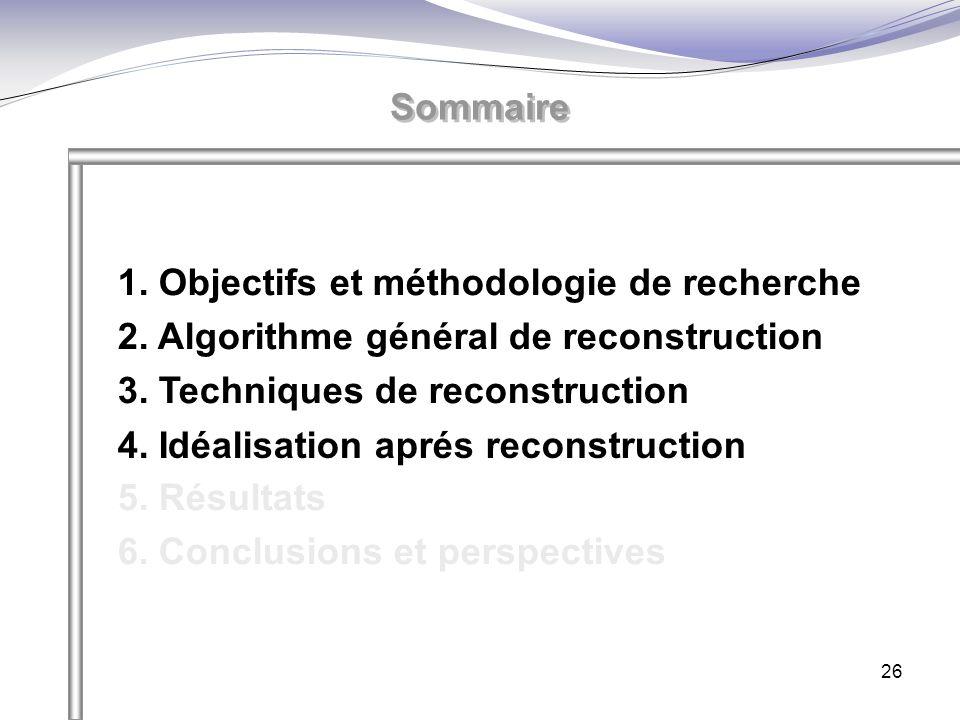 26 Sommaire 1. Objectifs et méthodologie de recherche 2. Algorithme général de reconstruction 3. Techniques de reconstruction 4. Idéalisation aprés re