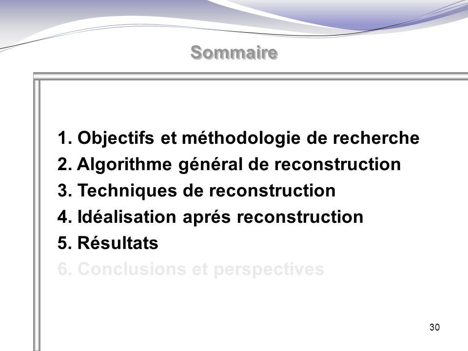 30 Sommaire 1. Objectifs et méthodologie de recherche 2. Algorithme général de reconstruction 3. Techniques de reconstruction 4. Idéalisation aprés re