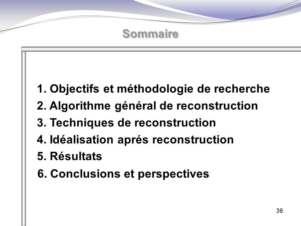 36 Sommaire 1. Objectifs et méthodologie de recherche 2. Algorithme général de reconstruction 3. Techniques de reconstruction 4. Idéalisation aprés re