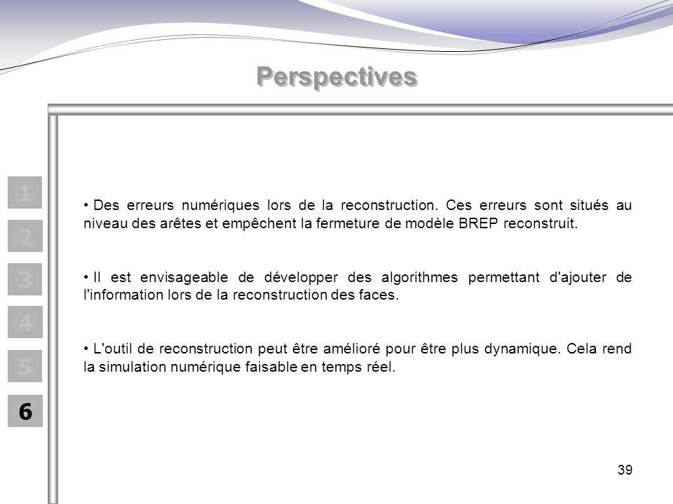 39 1 2 3 4 5 6 Perspectives Des erreurs numériques lors de la reconstruction. Ces erreurs sont situés au niveau des arêtes et empêchent la fermeture d