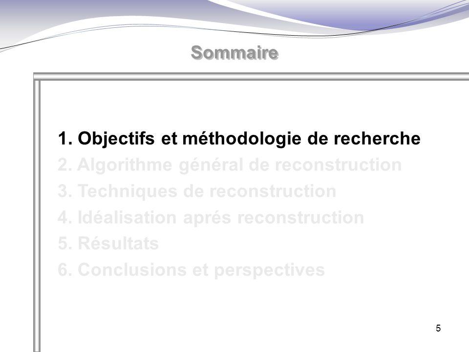 5 1. Objectifs et méthodologie de recherche 2. Algorithme général de reconstruction 3. Techniques de reconstruction 4. Idéalisation aprés reconstructi