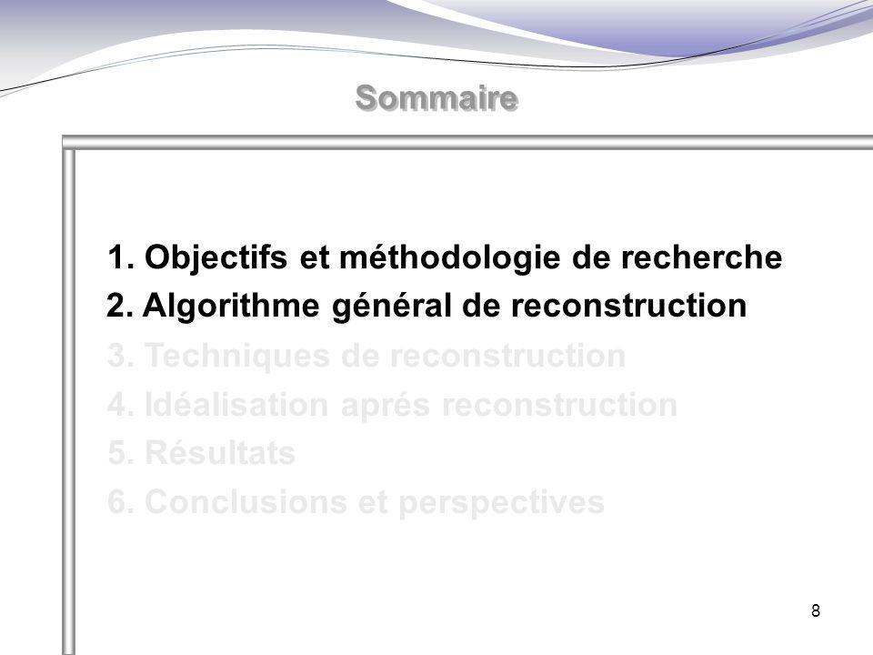 8 Sommaire 1. Objectifs et méthodologie de recherche 2. Algorithme général de reconstruction 3. Techniques de reconstruction 4. Idéalisation aprés rec