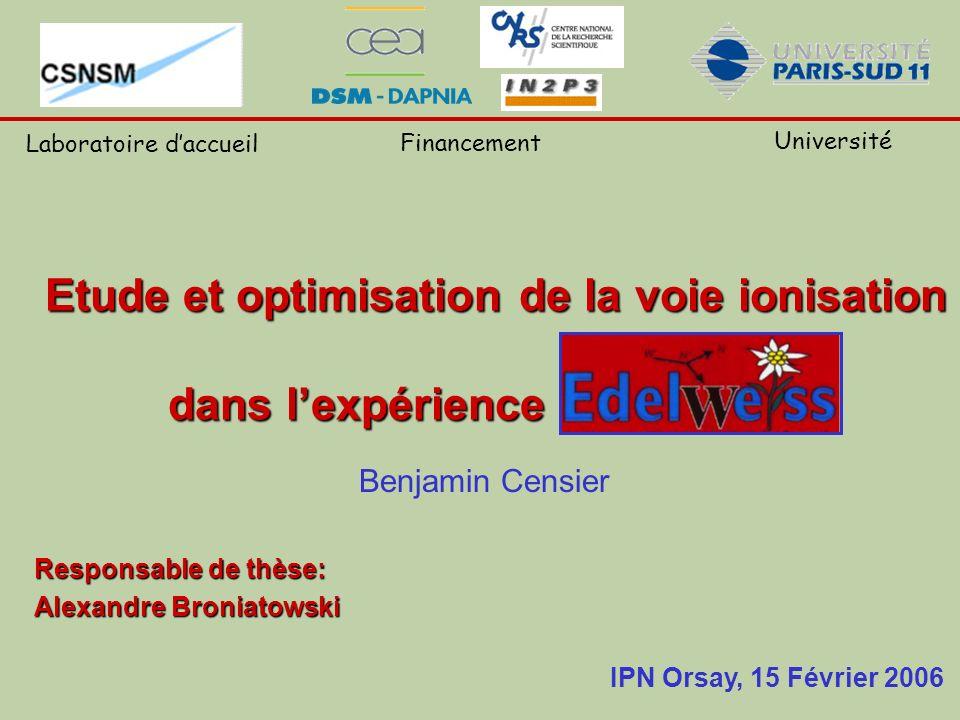 Etude et optimisation de la voie ionisation dans lexpérience EDELWEISS Benjamin Censier Responsable de thèse: Alexandre Broniatowski IPN Orsay, 15 Fév