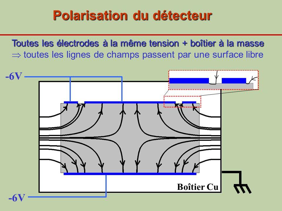 -6V Polarisation du détecteur Boîtier Cu Toutes les électrodes à la même tension + boîtier à la masse Toutes les électrodes à la même tension + boîtie