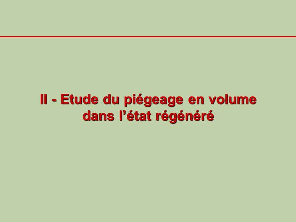 II - Etude du piégeage en volume dans létat régénéré