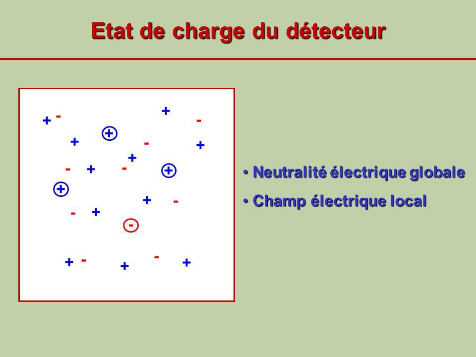Etat de charge du détecteur + + + + + - - - - + - + + - + + + + + + - - - - Neutralité électrique globale Neutralité électrique globale Champ électriq