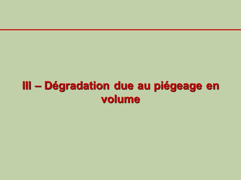 III – Dégradation due au piégeage en volume