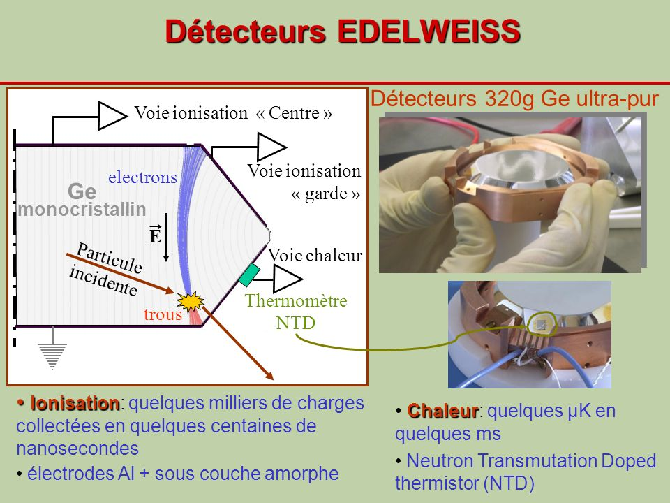 Discrimination événement par évènement 73 Ge(n,n, ) Seuil ionisation Neutrons, WIMPs Reculs nucléaires Rapport ionisation/chaleur différent pour reculs nucléaires et électroniques Rejet de plus de 99.9% des reculs électroniques pour E recul >15keV Gammas, electrons Reculs électroniques Q Calibration: neutrons+gammas Calibration: gammas seuls