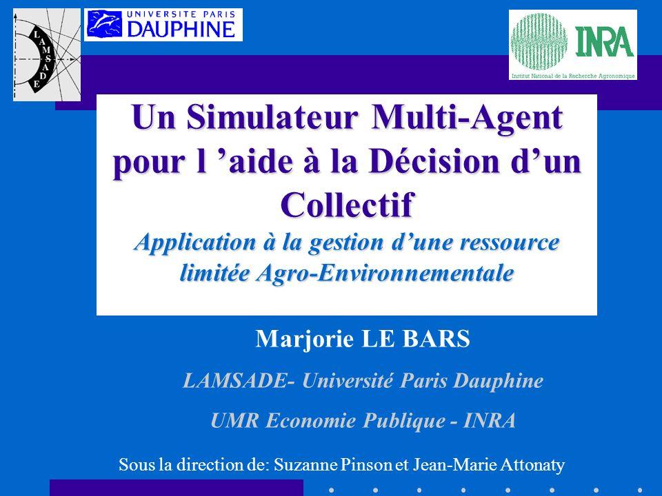 Un Simulateur Multi-Agent pour l aide à la Décision dun Collectif Application à la gestion dune ressource limitée Agro-Environnementale Marjorie LE BA