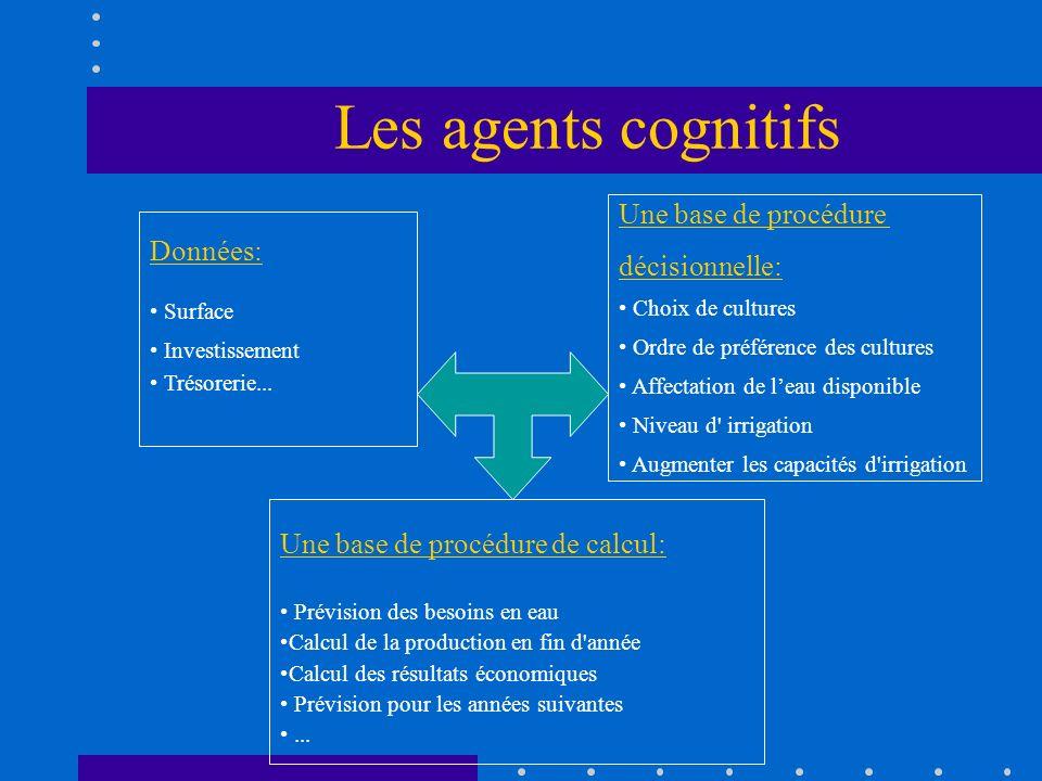 Les agents cognitifs Données: Surface Investissement Trésorerie... Une base de procédure décisionnelle: Choix de cultures Ordre de préférence des cult