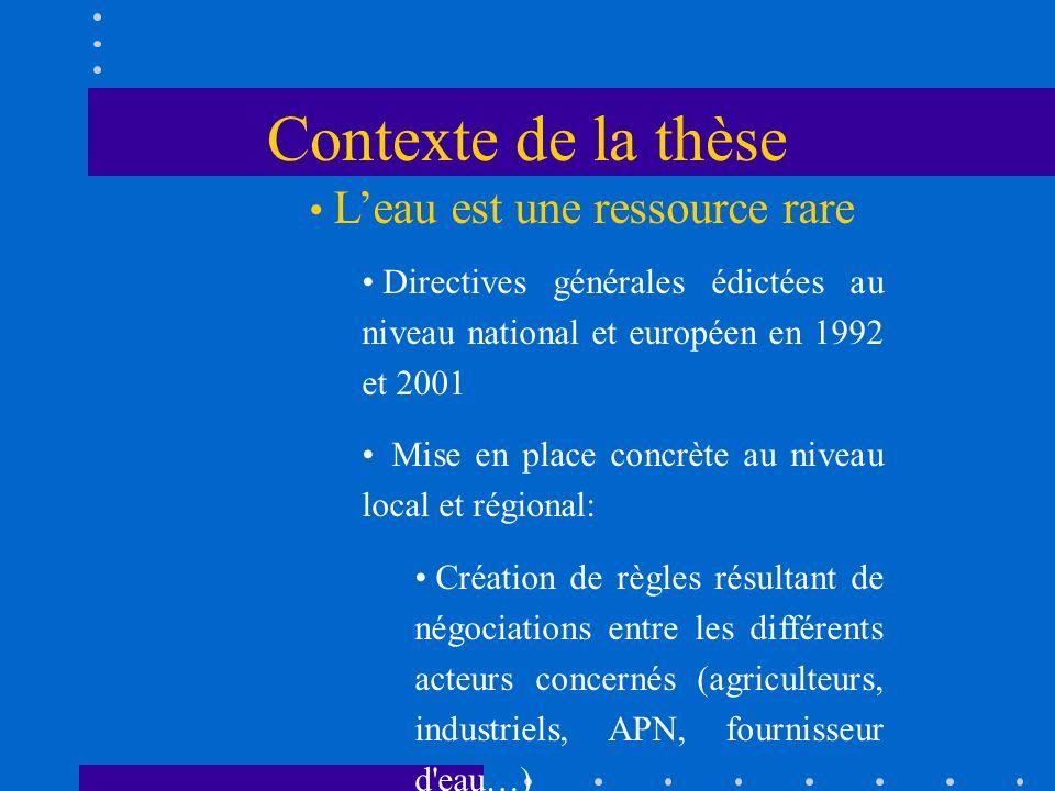Contexte de la thèse Leau est une ressource rare Directives générales édictées au niveau national et européen en 1992 et 2001 Mise en place concrète a