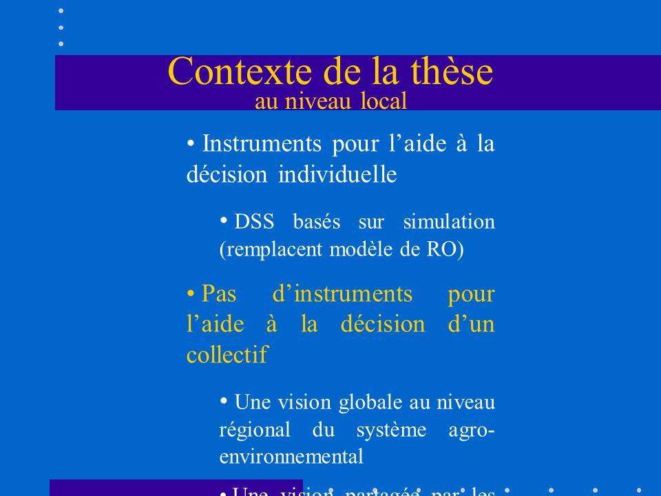 Contexte de la thèse au niveau local Instruments pour laide à la décision individuelle DSS basés sur simulation (remplacent modèle de RO) Pas dinstrum