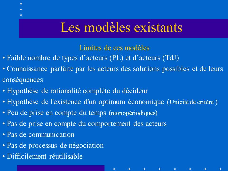 Limites de ces modèles Faible nombre de types dacteurs (PL) et dacteurs (TdJ) Connaissance parfaite par les acteurs des solutions possibles et de leur
