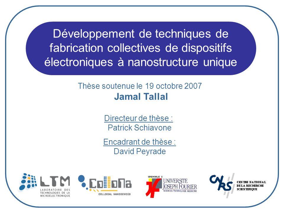 Développement de techniques de fabrication collectives de dispositifs électroniques à nanostructure unique Thèse soutenue le 19 octobre 2007 Jamal Tal