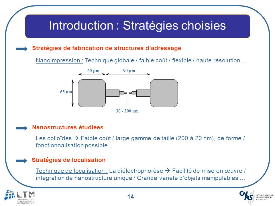 14 Introduction : Stratégies choisies Stratégies de fabrication de structures dadressage Nanoimpression : Technique globale / faible coût / flexible /