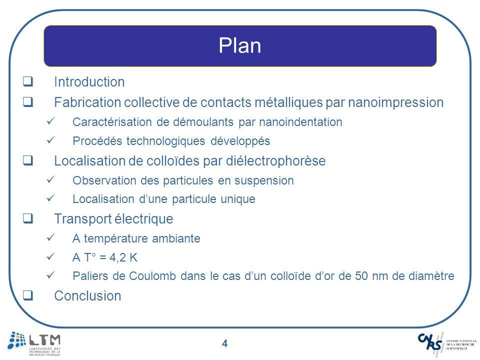 4 Introduction Fabrication collective de contacts métalliques par nanoimpression Caractérisation de démoulants par nanoindentation Procédés technologi