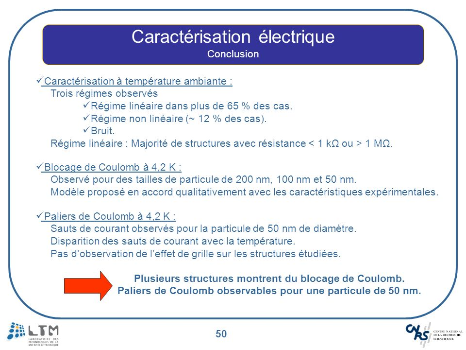 50 Caractérisation électrique Conclusion Caractérisation à température ambiante : Trois régimes observés Régime linéaire dans plus de 65 % des cas. Ré