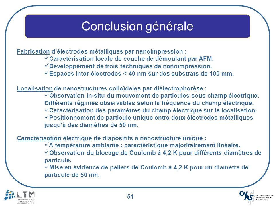 51 Conclusion générale Fabrication délectrodes métalliques par nanoimpression : Caractérisation locale de couche de démoulant par AFM. Développement d