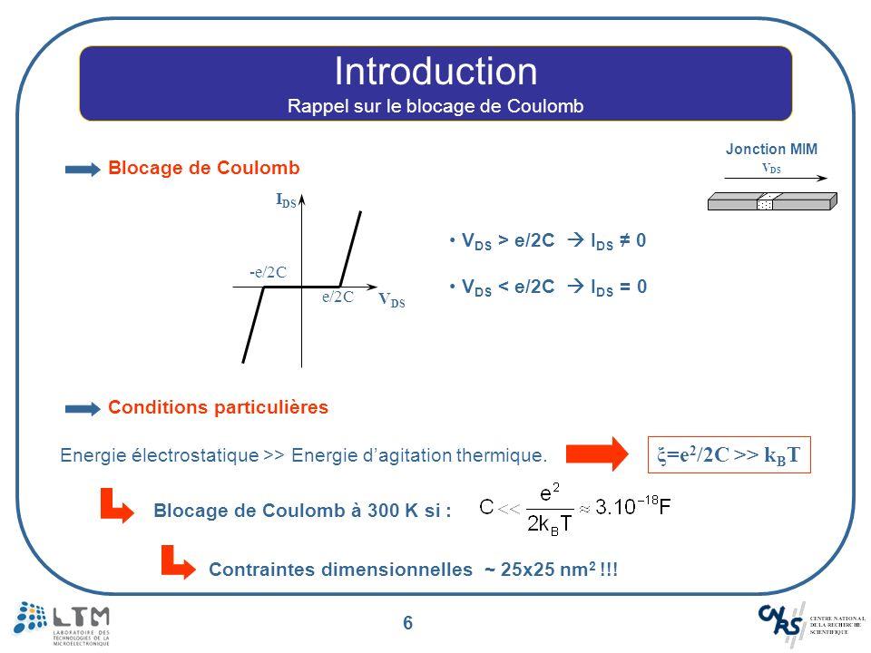 7 Introduction Rappel sur les paliers de Coulomb Métal (Drain) Isolant Métal (Source) V DS V1V1 V2V2 R T1, C 1 R T2, C 2 Jonction tunnel 1 Jonction tunnel 2 Ilot Source Drain EF1EF1 E F2 -eV 1 -eV 2 E F3 V DS 0 V Jonction MIMIM e/2C 2 V DS I DS -e/2C 1 R T1 R T2 Passage dun électron ξ = e 2 /2(C 1 + C 2 ) e-e- E F1 E F2 -eV 1 -eV 2 E F3 ξ e-e- E F1 E F2 -eV 1 -eV 2 E F3 ξ V DS > e/2C 2 Passage du courant .