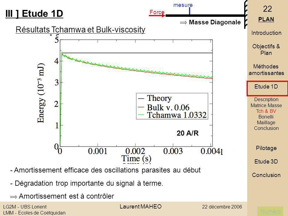 Numéro LG2M - UBS Lorient Laurent MAHEO 22 décembre 2006 LMM - Ecoles de Coëtquidan 22 1 er Aller III ] Etude 1D PLAN Introduction Objectifs & Plan Mé