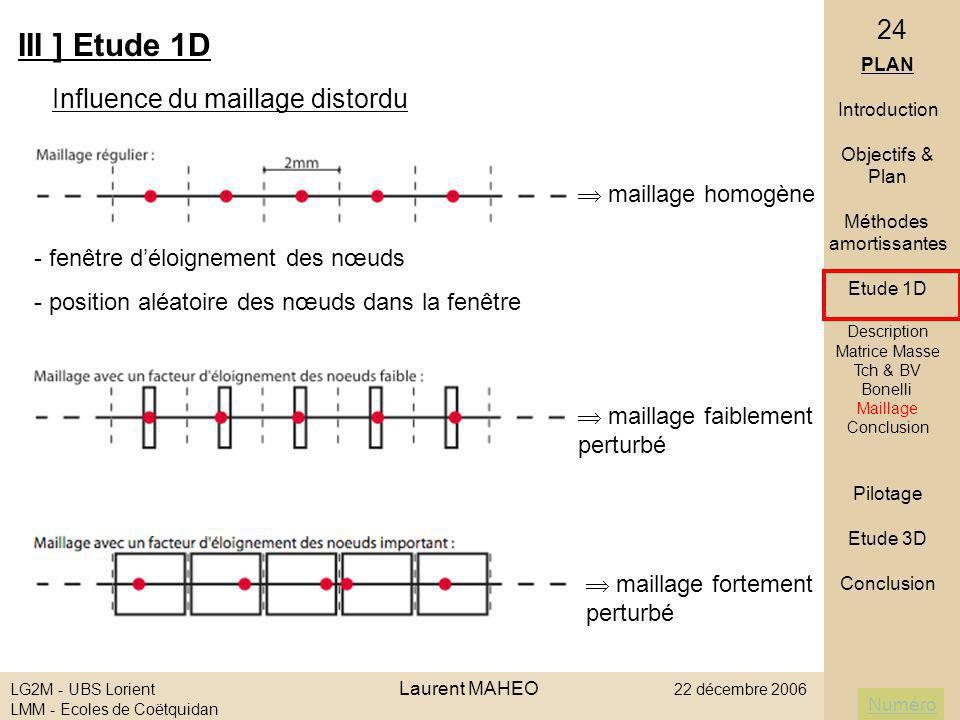 Numéro LG2M - UBS Lorient Laurent MAHEO 22 décembre 2006 LMM - Ecoles de Coëtquidan 24 III ] Etude 1D Influence du maillage distordu PLAN Introduction