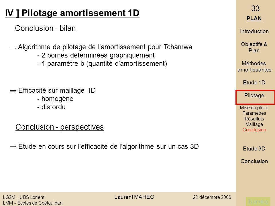 Numéro LG2M - UBS Lorient Laurent MAHEO 22 décembre 2006 LMM - Ecoles de Coëtquidan 33 IV ] Pilotage amortissement 1D Conclusion - bilan Conclusion -
