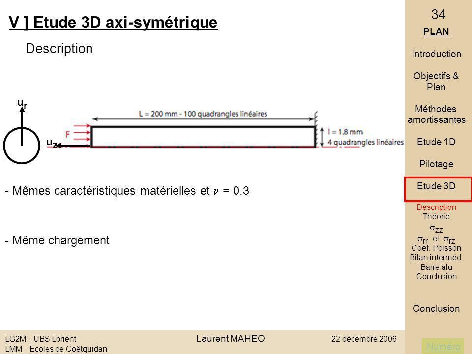 Numéro LG2M - UBS Lorient Laurent MAHEO 22 décembre 2006 LMM - Ecoles de Coëtquidan 34 V ] Etude 3D axi-symétrique Description PLAN Introduction Objec
