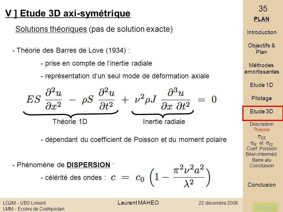 Numéro LG2M - UBS Lorient Laurent MAHEO 22 décembre 2006 LMM - Ecoles de Coëtquidan 35 - Théorie des Barres de Love (1934) : - prise en compte de line