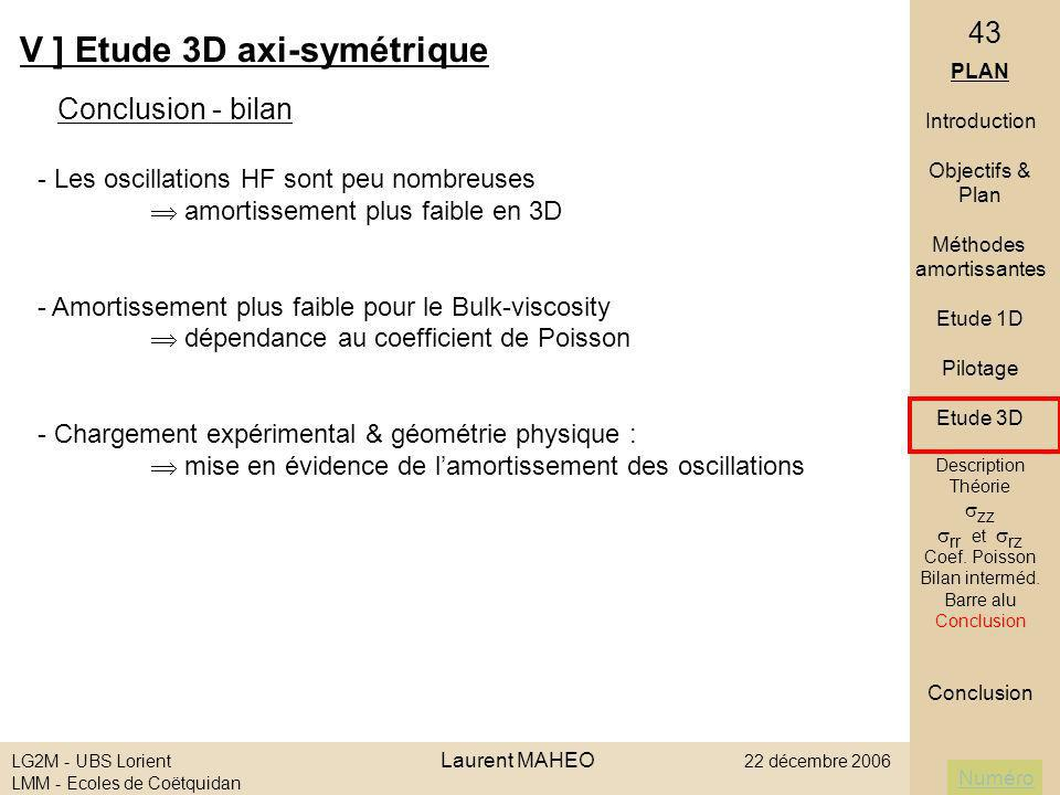 Numéro LG2M - UBS Lorient Laurent MAHEO 22 décembre 2006 LMM - Ecoles de Coëtquidan 43 V ] Etude 3D axi-symétrique Conclusion - bilan PLAN Introductio