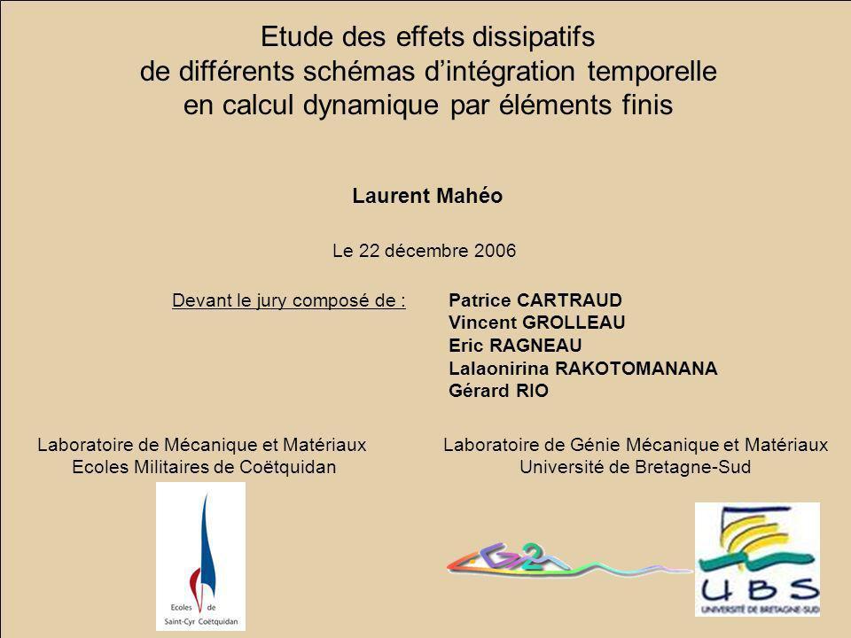 Numéro LG2M - UBS Lorient Laurent MAHEO 22 décembre 2006 LMM - Ecoles de Coëtquidan 46 Etude des effets dissipatifs de différents schémas dintégration