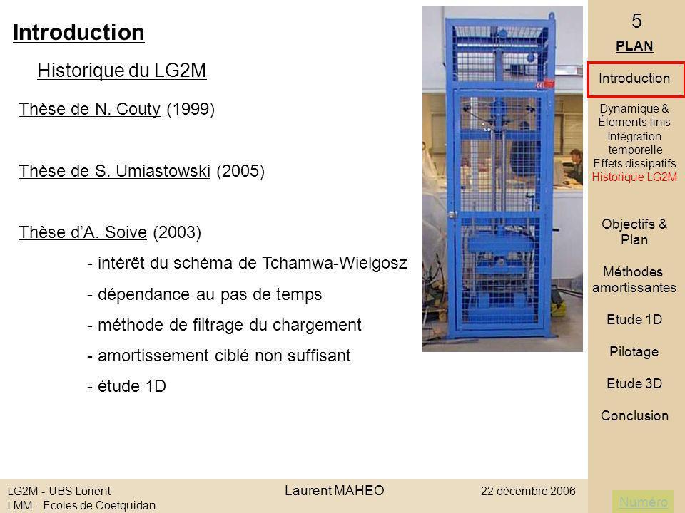 Numéro LG2M - UBS Lorient Laurent MAHEO 22 décembre 2006 LMM - Ecoles de Coëtquidan 26 III ] Etude 1D Conclusion - bilan - Runge-Kutta solution théorique du système discrétisé - Matrice Masse conditionne le problème - Maillage dépendance des schémas temporels amortissants - Bonelli amortissement efficace au tout début - Tchamwa et Bulk-viscosity : - efficace au début du calcul mais trop amortissant à terme - Amortissement permanent dégradation progressive du signal contrôle de lamortissement : algorithme de pilotage de Tchamwa PLAN Introduction Objectifs & Plan Méthodes amortissantes Etude 1D Description Matrice Masse Tch & BV Bonelli Maillage Conclusion Pilotage Etude 3D Conclusion