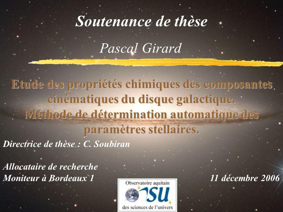 Etude des propriétés chimiques des composantes cinématiques du disque galactique. Méthode de détermination automatique des paramètres stellaires. Pasc