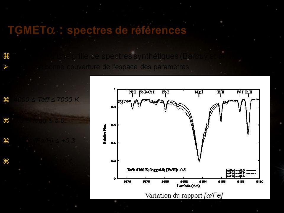 zUtilisation dune grille de spectres synthétiques (Barbuy et al. 2003) Offre une bonne couverture de lespace des paramètres z4000 Teff 7000 K z0.5 log