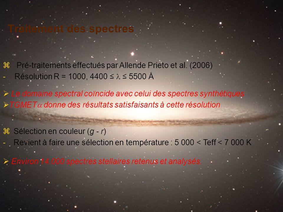 Traitement des spectres zSélection en couleur (g - r) -Revient à faire une sélection en température : 5 000 < Teff < 7 000 K z Pré-traitements effectu