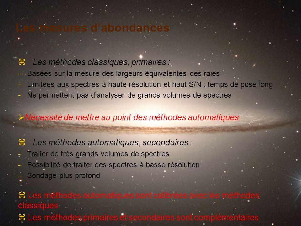 Les mesures dabondances z Les méthodes classiques, primaires : - Basées sur la mesure des largeurs équivalentes des raies - Limitées aux spectres à ha
