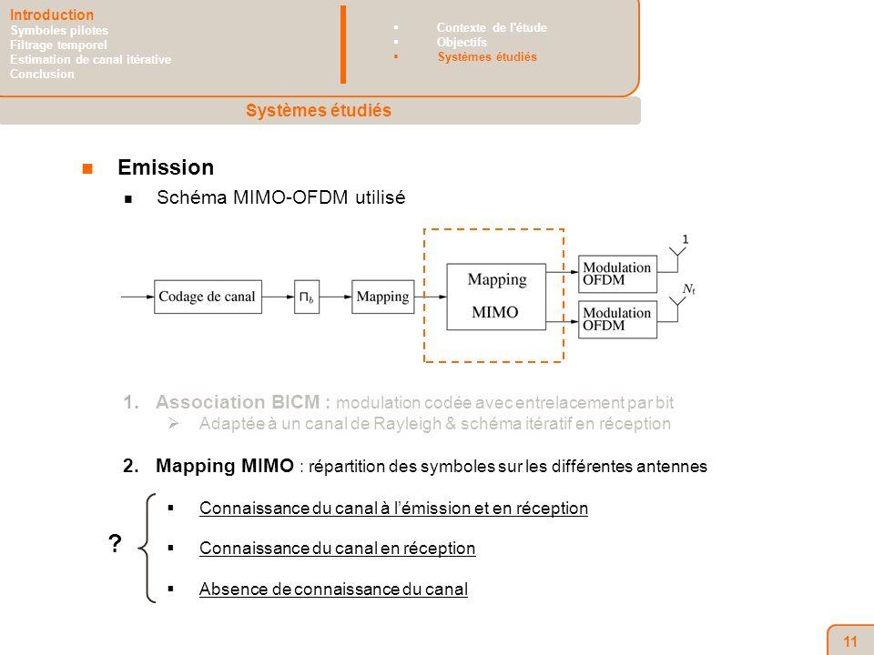 11 Emission Schéma MIMO-OFDM utilisé 1.Association BICM : modulation codée avec entrelacement par bit Adaptée à un canal de Rayleigh & schéma itératif en réception 2.Mapping MIMO : répartition des symboles sur les différentes antennes Connaissance du canal à lémission et en réception Connaissance du canal en réception Absence de connaissance du canal .