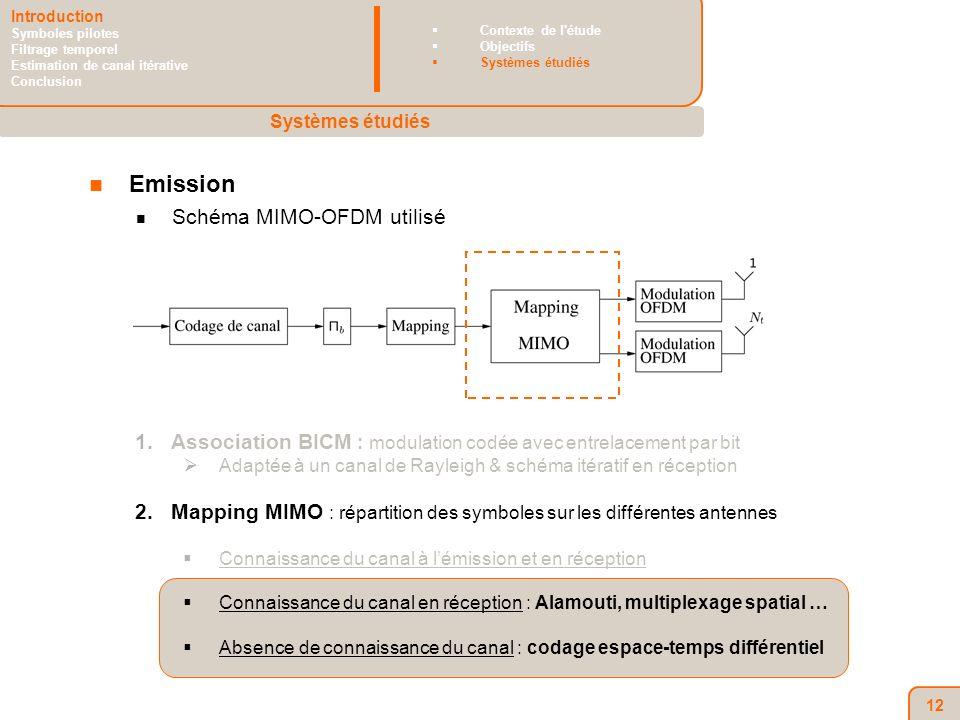 12 Emission Schéma MIMO-OFDM utilisé 1.Association BICM : modulation codée avec entrelacement par bit Adaptée à un canal de Rayleigh & schéma itératif en réception 2.Mapping MIMO : répartition des symboles sur les différentes antennes Connaissance du canal à lémission et en réception Connaissance du canal en réception : Alamouti, multiplexage spatial … Absence de connaissance du canal : codage espace-temps différentiel Systèmes étudiés Introduction Symboles pilotes Filtrage temporel Estimation de canal itérative Conclusion Contexte de l étude Objectifs Systèmes étudiés
